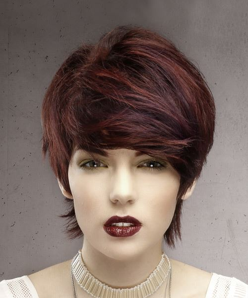 Formal Short Straight Pixie Hairstyle with Side Swept