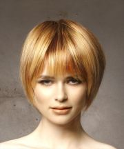 short straight light red bob haircut
