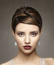 brunette pixie cut with side swept