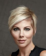 light blonde pixie cut with side