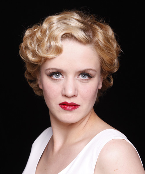 Formal Short Wavy Hairstyle  Strawberry Blonde Hair Color