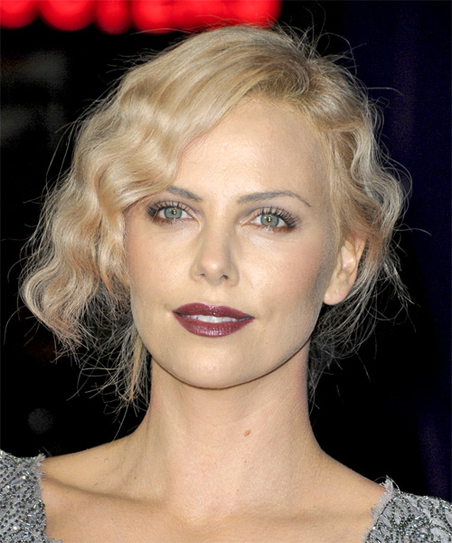 Charlize Theron Medium Curly Casual Updo Hairstyle