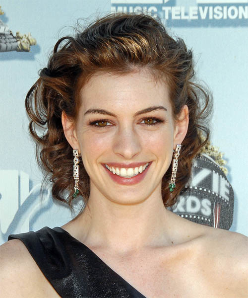 Anne Hathaway Medium Curly Formal Updo Hairstyle