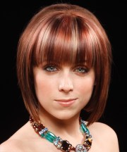 medium straight dark red bob haircut