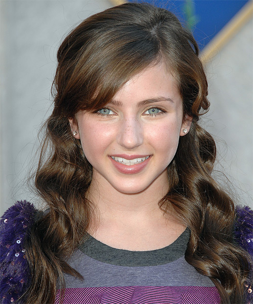 Ryan Newman Long Curly Formal Half Up Hairstyle Brunette