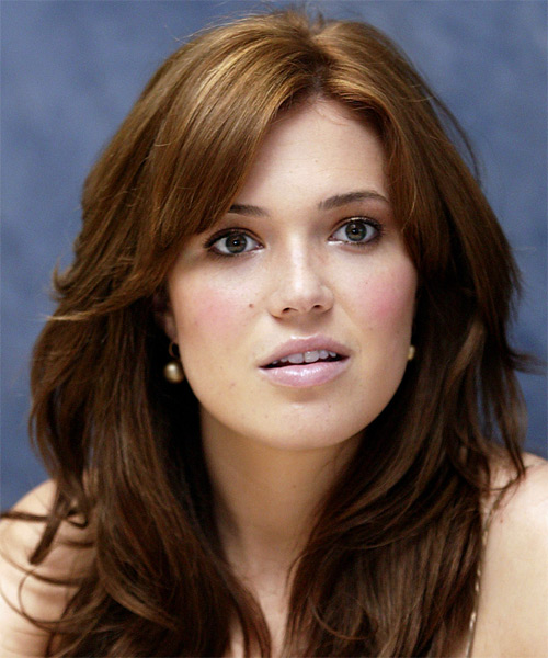 Mandy Moore Long Straight Casual Hairstyle Chestnut