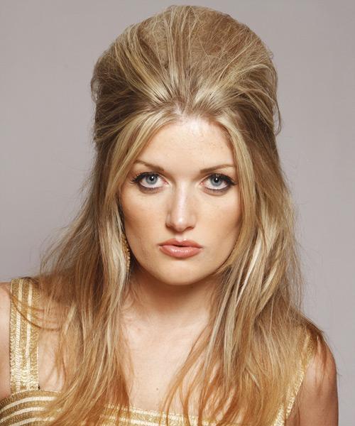 Half Up Straight Casual Hairstyle Medium Blonde Golden