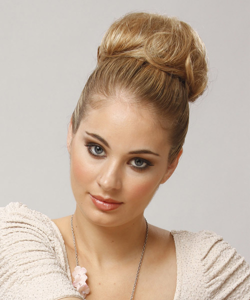 Long Straight Formal Updo Hairstyle Blonde Hair Color