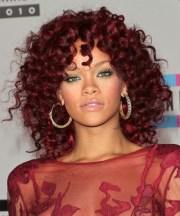 rihanna medium curly casual hairstyle