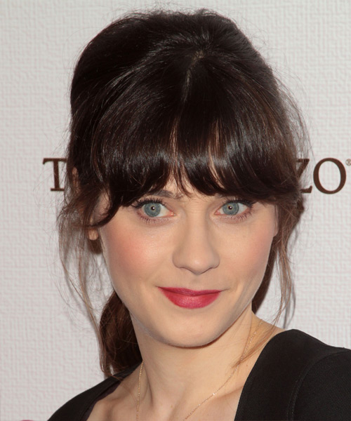 Zooey Deschanel Casual Long Straight Updo Hairstyle With