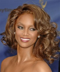 Tyra Banks Medium Curly Formal Bob Hairstyle - Caramel ...