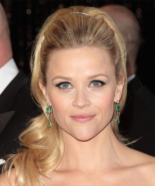 Reese Witherspoon Long Curly Formal Half Up Hairstyle