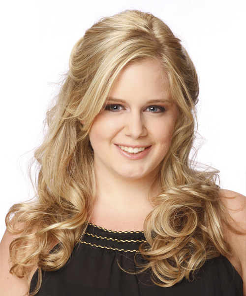 Long Curly Formal Half Up Hairstyle Light Blonde Hair