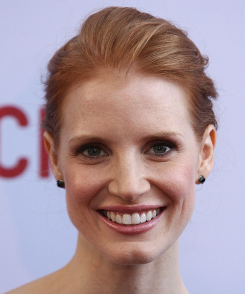 Jessica Chastain Formal Long Straight Updo Hairstyle