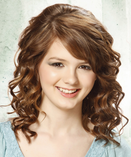 Medium Curly Chestnut Brunette Hairstyle with Side Swept Bangs