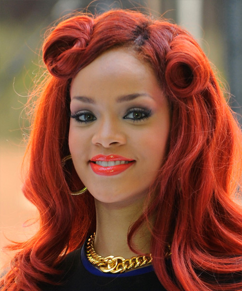 Rihanna Formal Long Curly Half Up Hairstyle Bright Red