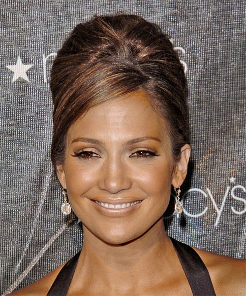 Jennifer Lopez Formal Medium Straight Updo Hairstyle
