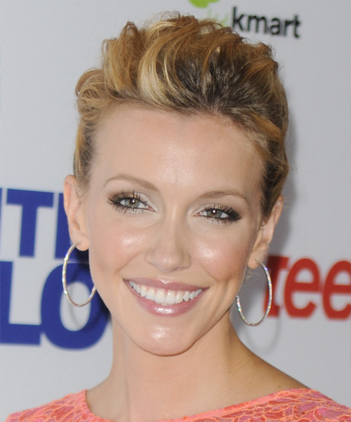 Katie Cassidy Long Curly Formal Updo Hairstyle Dark