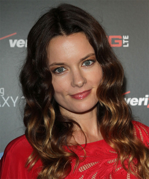 Gina Holden Long Wavy Casual Hairstyle Dark Brunette And