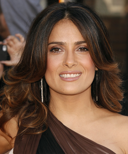 Salma Hayek Formal Long Wavy Hairstyle  Dark Mocha