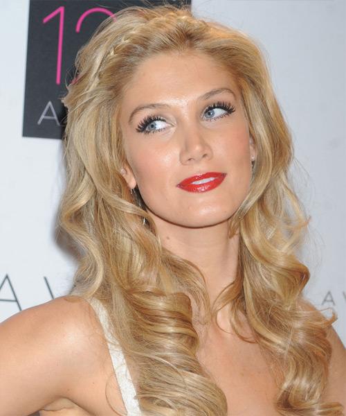 Delta Goodrem Long Wavy Formal Hairstyle Golden Blonde