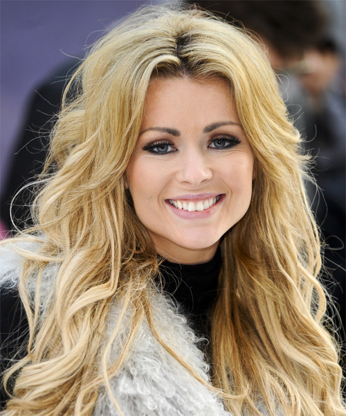 Nicola McLean Casual Long Wavy Hairstyle Golden Blonde