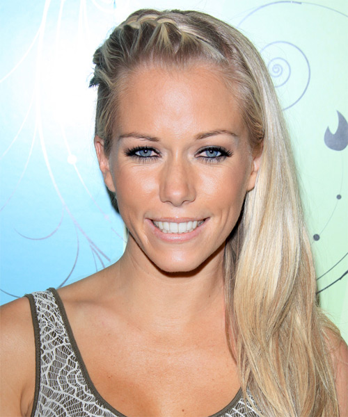 Kendra Wilkinson Long Straight Casual Braided Half Up