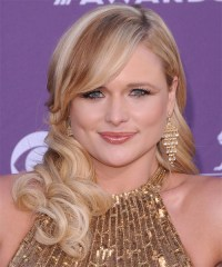 Miranda Lambert Long Wavy Formal Hairstyle with Side Swept ...
