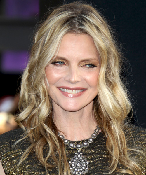 Michelle Pfeiffer Casual Long Wavy Shag Hairstyle Dark
