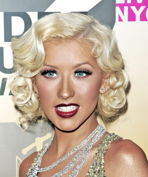 Christina Aguilera Formal Medium Wavy Hairstyle Light