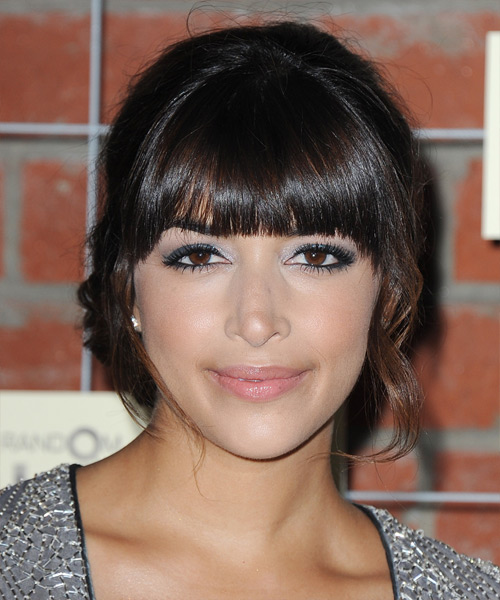 Hannah Simone Long Curly Formal Updo Hairstyle With Blunt
