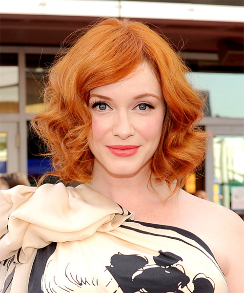 Christina Hendricks Medium Wavy Formal Bob Hairstyle Orange