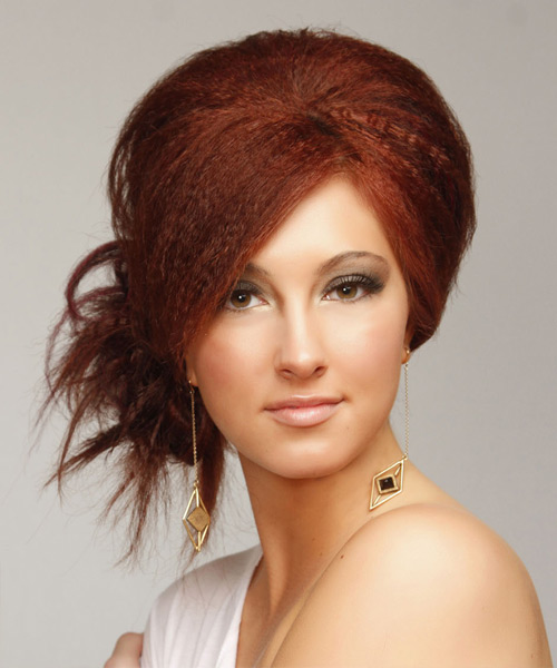 Casual Long Straight Emo Updo Hairstyle Red Hair Color