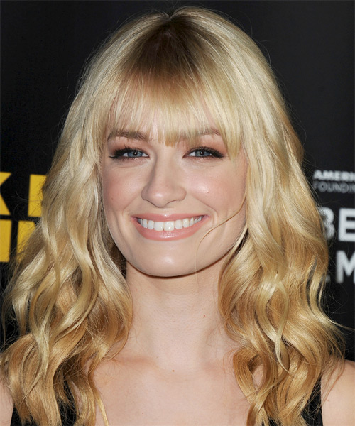 Beth Behrs Long Wavy Casual Hairstyle With Blunt Cut Bangs