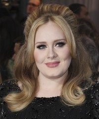 Adele Long Straight Casual Half Up Hairstyle - Dark ...