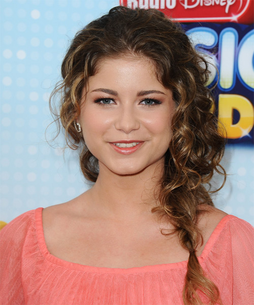 Sofia Reyes Long Curly Casual Braided Half Up Hairstyle
