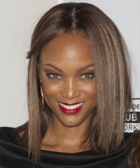 Tyra Banks Medium Straight Casual Hairstyle - Chocolate ...