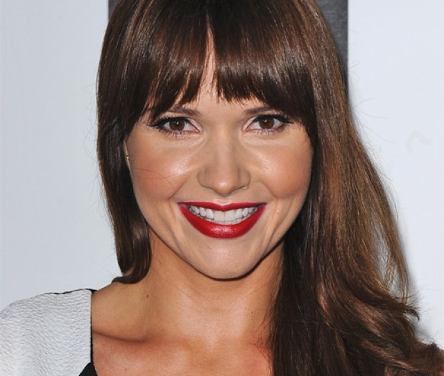 Valerie Azlynn Long Straight Formal Hairstyle With Blunt Cut Bangs Chocolate Brunette Hair Color