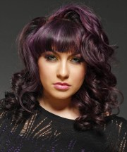 medium wavy purple plum hairstyle
