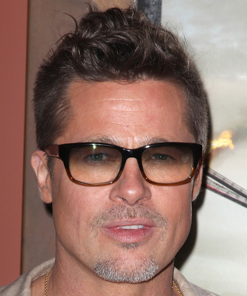 Brad Pitt Short Wavy Casual Hairstyle Brunette Hair Color