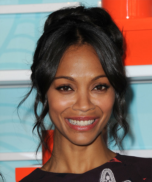 Zoe Saldana Formal Long Curly Updo Hairstyle  Black Hair