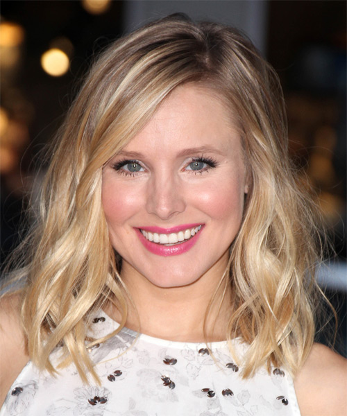 Kristen Bell Medium Wavy Casual Hairstyle Light Blonde