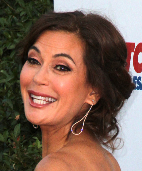 Teri Hatcher Formal Medium Wavy Updo Hairstyle With Side