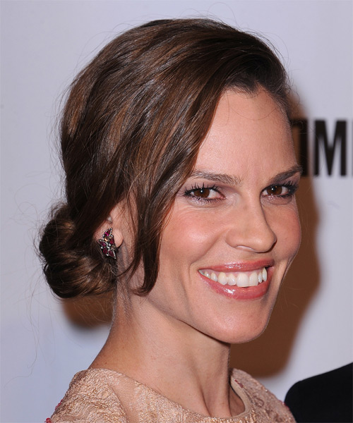 Hilary Swank Long Straight Casual Updo Hairstyle