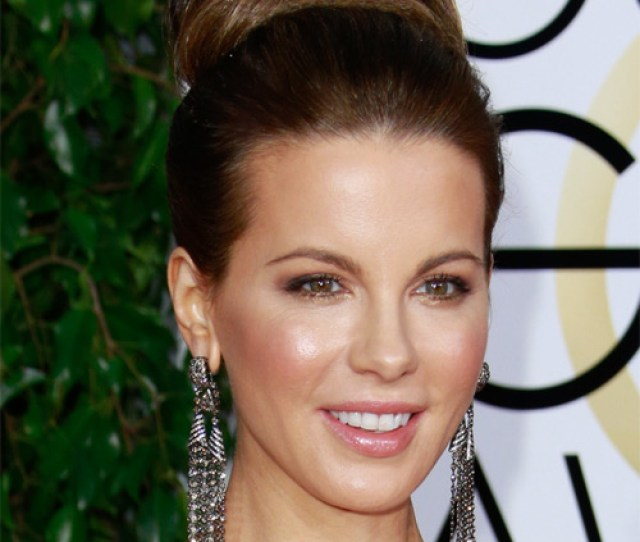 Kate Beckinsale Long Straight Formal Updo Hairstyle Brunette Hair Color Side On View