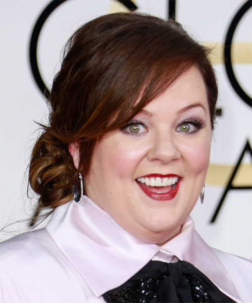 Melissa McCarthy Medium Wavy Formal Updo Hairstyle With
