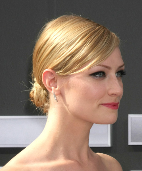 Beth Behrs Formal Long Straight Updo Hairstyle  Golden