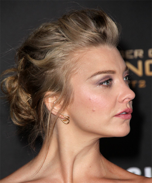 Natalie Dormer Long Wavy Formal Updo Hairstyle Dark Ash