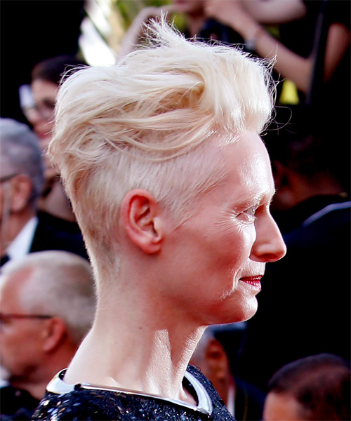 Tilda Swinton Short Wavy Casual Mohawk Hairstyle Light