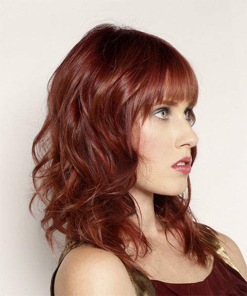 Long Wavy Casual Hairstyle with Blunt Cut Bangs  Dark Red